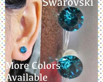 December Birthstone Swarovski Crystal Clip On Earrings, Blue Zircon Rhinestone Clip On Earring Stud Wedding Clip Earrings Bridal Clip-ons