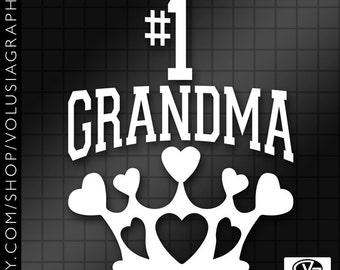 Custom #1 Grandma Queen of Hearts Crown Vinyl Decal Sticker