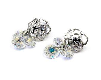 Elegant Rose crystal stamen earrings