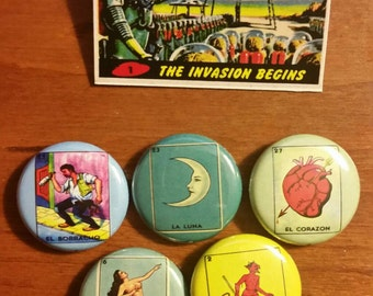 Loteria Pins set of 5   1 inch buttons
