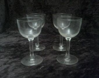 Port / Sherry Glasses Set of 4 Hexagonal Stems