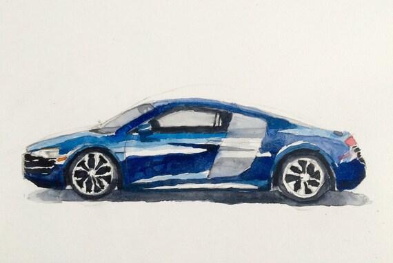 Audi R8, car painting, car watercolor, child art, german car, exotic car