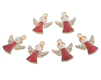 50PCs Xmas Enemal Pendants Christmas Star Red Angel Jewelry Gold Plated DIY