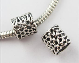 Dotted Spacer Beads Fit Charm Bracelet  50 PCs
