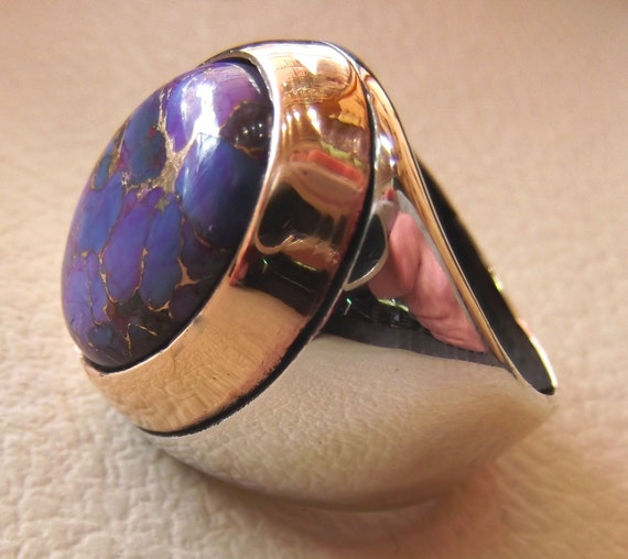 Purple Mohave Copper Turquoise Natural Stone Men Sterling