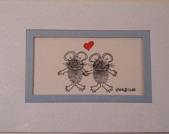 Thumbprint Art dated 1980 Mice Holding Hands Heart