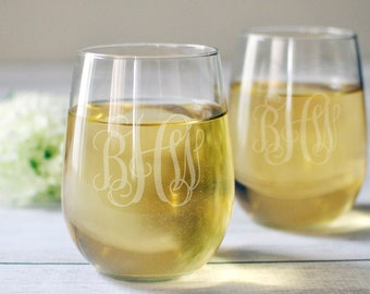 SET OF 4 - Stemless Wine Glasses - Wedding Gift - Toasting Glasses - Christmas Wine Gift - Housewarming gift - Monogrammed Gift