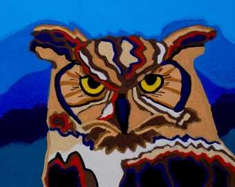 Great Horned Owl Gouache Painting, Owl Gouache Painting, Great Horned Owl Portrait