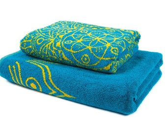 FREE SHIPPING Mothers Day Gift for Mom Mandala Towel Set in Sky Blue Hand Towel and Bath Towel Bathroom Art Vintage Home Decor