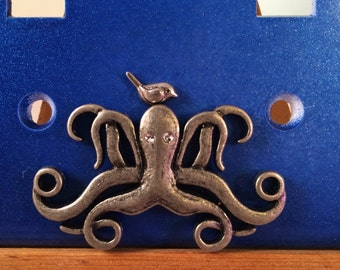 Bird and Octopus Decorative Light Switch Cover Blue Double