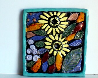 Ceramic decorative Panel two sunflowers