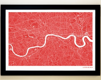 LONDON Map Art Print, Giclée Print, London Wall Art