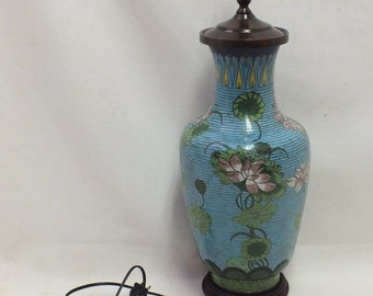 """Chinese Cloisonne lamp 22' tall, 7"""" diameter"""