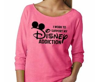 I work to support my Disney Addiction // Disney T-Shirt // Disneyland, Walt Disney World // Adult Women's Disney Tank // Mickey Ears Shirt