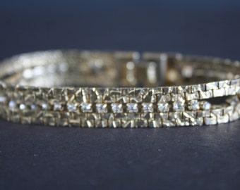 Gold and Crystal Vintage Bracelet, Vintage Bracelet, Vintage Gold, Tennis Bracelet, Gold Bracelet