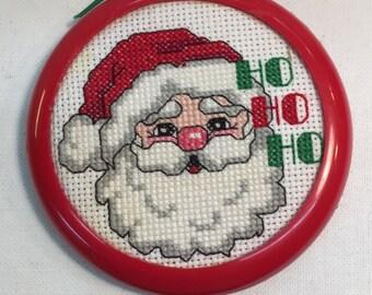 Santa Ornament Cross Stitch Needle Point