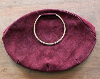 Deep Red Handbag /  Vintage Purse / Italian Handbag
