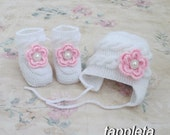 pink roses Hat and booties 0-12 months, newborn, warm shoes, knitted hat, socks, white, flower, clothing baptism, babyshower, christmas gift