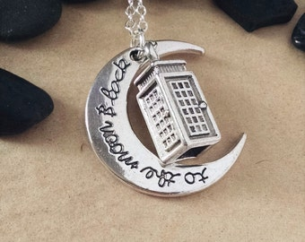 TARDIS and the Moon Necklace, Swarovski Crystal Necklace, Dr Who Necklace, Tardis Charm, To the Moon and Back, Doctor Who Valentine