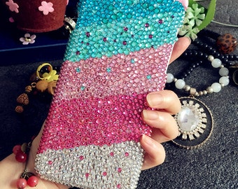 Bling Sparkles Luxury Mixed Pink Blue Charms Colorized Gems Crystals Rhinestones Diamonds Fashion Lovely Hard Cover Case for Mobile Phone