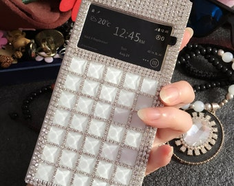 New Bling Luxury White Flip Crystals Unique Window View Wallet Leather Rhinestones Diamonds Gems Fashion Lovely Cover Case for Mobile Phones