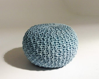 Handmade Knitted Pouf | Aquamarine | 50x35cm | Hand Knit Pouf Ottoman  Footstool