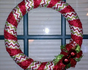 Christmas/Holiday Red and Chevron Wrapped Wreath