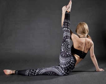 LEGGINGS noirs et blancs pour Yoga Fitness Running danse escalade Pilates et bien d'autres