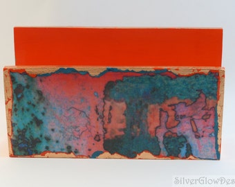 Handmade Letter Holder/ Mail Holder/ Desk Accessory/ Desk Organizer - Decoupage with Orange Abstract Pattern and Copper Leaf