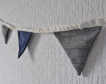 Pennant garland hand-stitched - cotton/linen