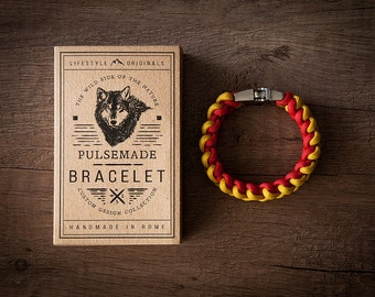 Men's bracelet-yellow woman-red unisex in Paracord 550-Pulsemade Xark Collection-Handmade paracord mens bracelet-Womens Yellow-red