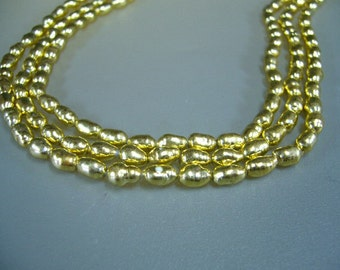 """Gold Plated Real Freshwater Pearls 7"""" Strand"""