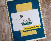 Personalized Birthday Card, Custom Birthday Card, Sweet Birthday Card, Scrapbook Style Paper Card, Paper Handmade Card, Flower and Butterfly