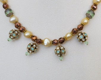 Free Shipping! Green and Bronze Necklace with German Swarovski Filigree Beads,Freshwater Pearls,Czech Beads and Czech Bronze Round Bead