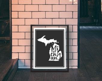 Michigan - Michigan Print - State Print - Michigan State Print - Michigan State Art - Michigan Wall Art