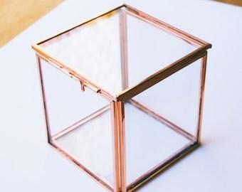 Rose gold geometric glass cube terrarium box