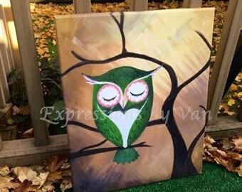 "Owl Home decor - ""Green Owl"" 16x 20"" Canvas Print"