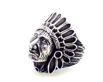 Indian chief silver ring (for men)
