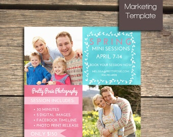INSTANT DOWNLOAD - Spring Mini Session Marketing Template (Photoshop) - M103