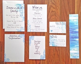 Modern Abstracts in Blue 'Imogen' - Wedding Stationery - SAMPLE PACK ONLY
