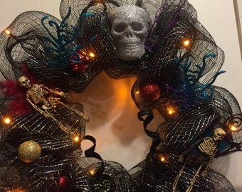 Free shipping, cyber Monday sale, Alternative wreath, holiday wreath with LED lights, skulls and fairy skeletons!  OOAK, a great gift idea