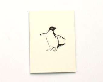 Letterpress Note Cards - Note Cards - Penguin Cards - Small Cards - Adelie Penguin - Blank Card - Letterpress Cards - little cards - notes