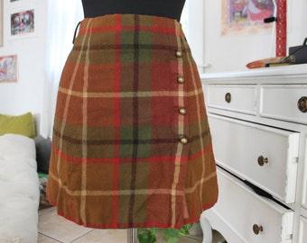 plaid wrap-around skirt
