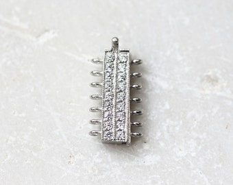 2262_1_Sterling silver 925 clasps 9x17 mm, Clasp zirconia,Rhodium plated clasps,Cubic zirconia clasps,Jewelry findings,Clasps CZ for jewelry