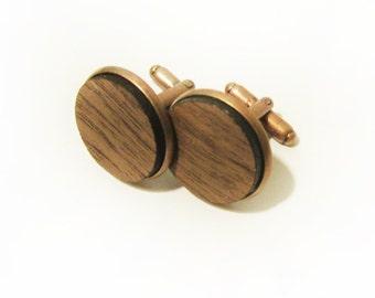Walnut Wood Cuff Link Pair (2) - Handmade Wooden Cuff Link
