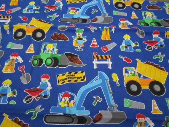 Timeless treasures lego fabric bthy dark blue background for Little blue truck fabric
