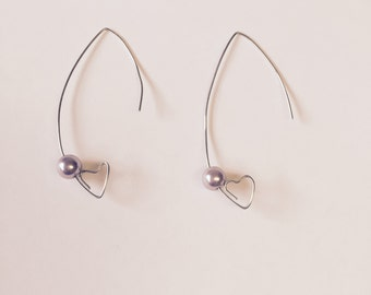 Wire Heart Earring With Lavender Glass Pearl