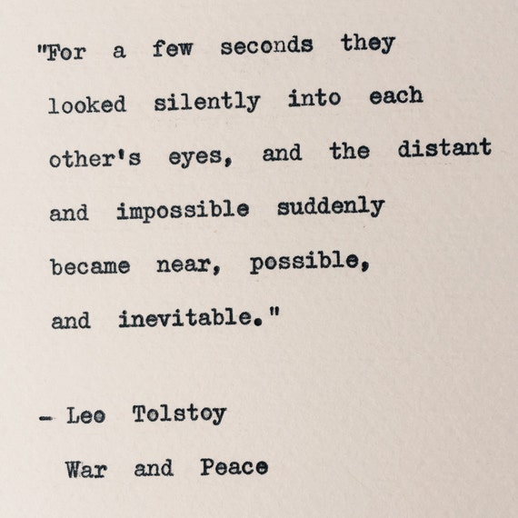 leo tolstoy war and peace typewriter quote weddings