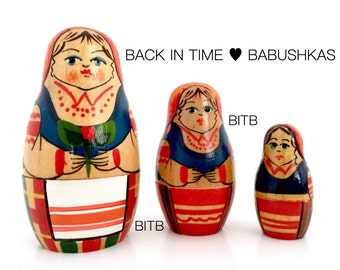 Red & Blue Belarusian BelarusVintage Nesting Doll Holding Single Red Flower. Miniature Brest Region Babushka Dolls, Matryoshka Dolls.