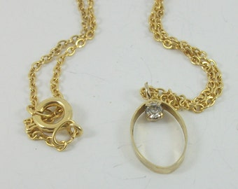 Vintage Gold Plated Necklace, Rhinestone Pendant, Vintage Gift, Oval Pendant, Rhinestone Pendant